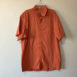 Arc'teryx Orange Button Down Shirt Lightweight Cotton Hiking Gorpcore Outdoors